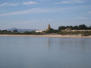 View back to Tavira on way to Ilha Walk