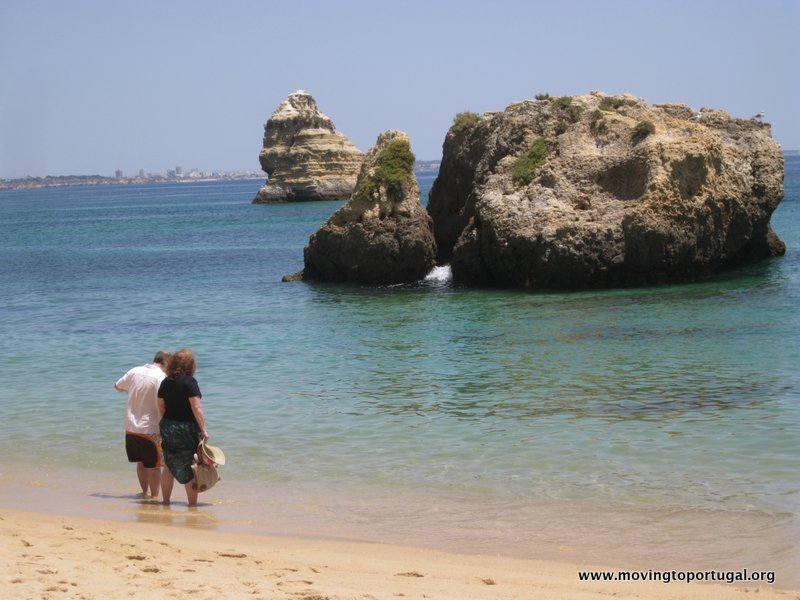 Enjoying the Water at Praia da Dona Ana