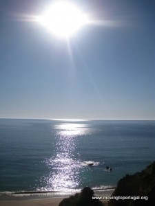 Praia da Rocha - sunlight sparkling on the sea